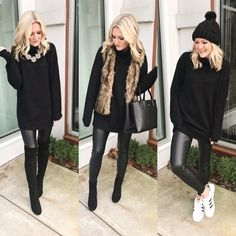 Casual Christmas Outfits For Women – Christie's Personal Web Site Leggings Outfit Winter, Leather Leggings Outfit, Spanx Faux Leather Leggings, Leggings Fashion, Look Fashion, Autumn Fashion, Fashion Outfits, Fashionable Outfits, Casual Fall Outfits