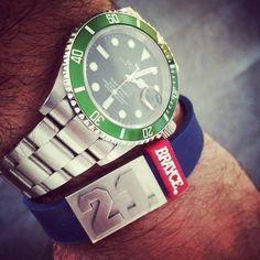 Damn! Nice combination  #BRAYCEyourself #wristband #armband #BRAYCE #rolex #submariner