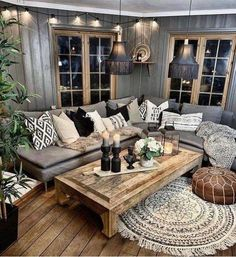 31 Nice Rustic Farmhouse Living Room Design And Decor Ideas - An open family room where the family eats is designed in charming farmhouse style which makes it a warm and welcoming heart for the home. Living Room Grey, Home Living, Living Room Furniture, Living Room Decor, Modern Living, Small Living, Rustic Furniture, Antique Furniture, Living Area