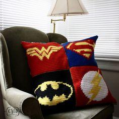 DC Superhero Pillow - Superman, Batman, Wonder Woman, The Flash - crochet and fabric pillow on Colorful Christine