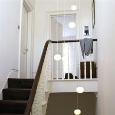 White landing steps banister 70s ceiling pendant lights real home L etc 03/2008 pub orig