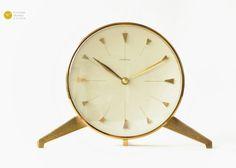 Mid Century Tripod JUNGHANS Table CLOCK - Germany Modern mcm - 50s brass Desk Shelf Art Deco - Tischuhr