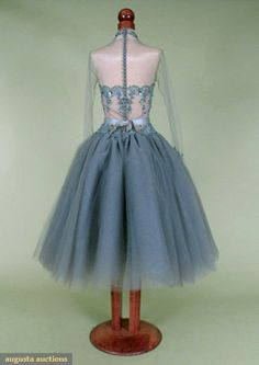 Beaded Grey Tulle Evening Dress, 1950's