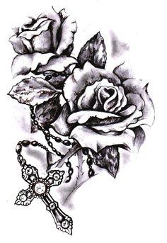 Rose cross sketch by SimonValentine.deviantart.com on @deviantART