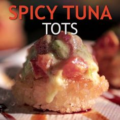 Yes, Tuna Tots are a real thing and you have to try Guy's version! Tuna is coated with Sriracha and mayo, then served on a crispy rice patty and drizzled with Yuzu Vinaigrette.