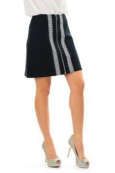 Michael Kors - Gonne - Abbigliamento - Gonna con chiusura a zip silver sul davanti ed applicazione di micro borchie sulla lunghezza. - NEW NAVY - € 175.00