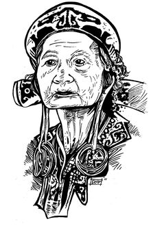 nenek dayak by jaricanggih,fine art L Chris Garver, Monami Frost, Doodle Drawings, Tattoo Drawings, Indonesian Art, La Art, Monkey D Luffy, Carving Designs, Camo Patterns