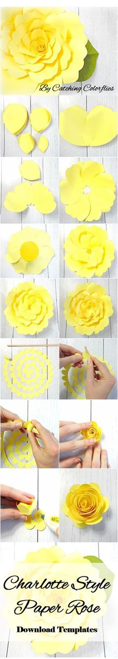 Giant Paper Flower Tutorial with templates, DIY paper flower templates, Paper flower SVG files, Large paper flower templates, Xl edition