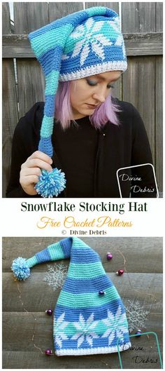 Winter Snowflake Hat Free Crochet Patterns, A short collection of Winter Snowflake Hat Free Crochet Patterns. It's Christmas, and start snowing here, and if you need to prepare some Christmas gi. Crochet Beanie Hat, Crochet Cap, Tunisian Crochet, Cute Crochet, Crochet Christmas Hats, Crochet Winter, Holiday Crochet, Easy Crochet Patterns, Knitting Patterns
