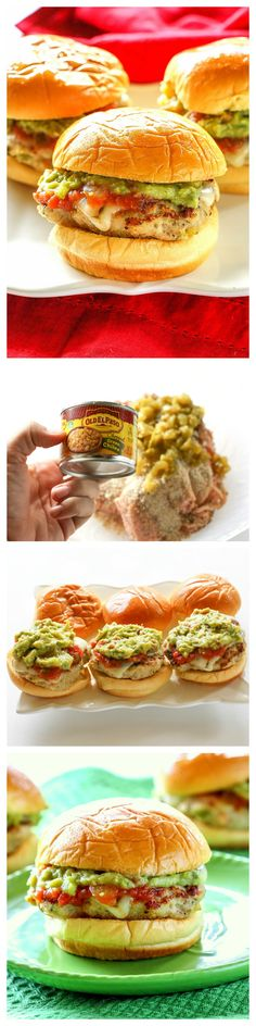 Green Chile Chicken Sliders - covered in pepper jack cheese, salsa, and guacamole. the-girl-who-ate-everything.com