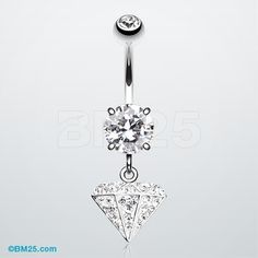 Urban Diamond Tiffany Inspired Dangle Belly Ring