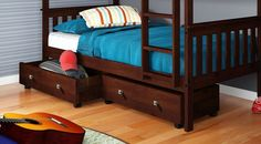 2 Wood Storage Drawers w/ Casters - Cappuccino #DoncoKids