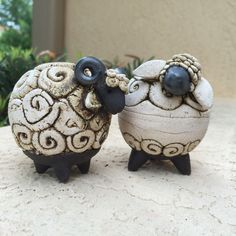 Can't sleep???... Try counting sheep. Ceramic artwork by Peruvian artist Gustavo Salas. Two-piece sets for sale at www.zollera.com