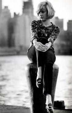 Sylvie Vartan, early 1960s casual elegance shirt pants shoes day wear short bob bangs cute!