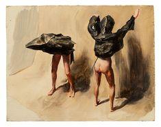 Michaël Borremans, Black Mould - Flyer, 2015 Oil on wood Framed 41.4 x 47.5 x 4.5 cm - Courtesy David Zwirner, London