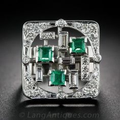Mid-Century Modern Emerald and Diamond Ring