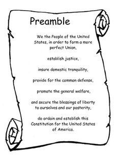 Here is a little printout I made to help my students learn the Preamble.  I print this out on Cardstock and have them put it in the folders to keep around while we are learning it as a class.  The second page is the same thing... but with blanks so they can fill in the missing words.