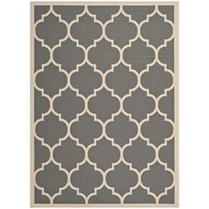 Santa Barbara Collection 100% Recycled Plastic Outdoor Reversable Area Rug Rugs White Silver Trellis san1001silver 5'11 x 9'3 - Made in USA