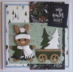 Sweet November, December, Baby Bunnies, Bunny, Side Step Card, Marianne Design Cards, Step Cards, Paper Crafting, Cardmaking