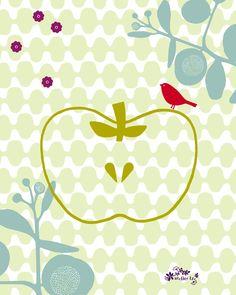 Dessins / Illustration | Atelier LZC | Pomme | Les designers de l'Atelier LZC ont su depuis une quinzaine d'années imposer leur style à la fois gai et élégant. Leur univers porte en lui les couleurs et la simplicité des formes emblématiques de la sérigraphie, leur premier support de création. Dans ce dessin l'oiseau couleur safran force le contraste et trouve une place de Roitelet gourmand sur la pomme.