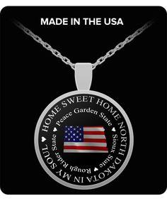 Available now! http://formugs.com/products/patriotic-north-dakota-gift-home-sweet-home-north-dakota-in-my-soul-north-dakota-gift-pendant-necklace?utm_campaign=social_autopilot&utm_source=pin&utm_medium=pin