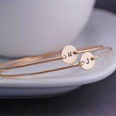 Personalized Gift for Mom, TWO Mother's Jewelry, Personalized Jewelry, Gold Initial Bangle Bracelets
