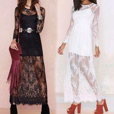 Long Sleeve White Black Reverse Lace Lady Maxi Dress 2015 Summer