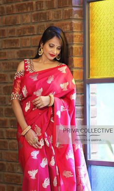 PV 3852 : Pink silkPrice : 4600 RsFlaunt this gorgeous silk sari in pink with silver motifs all over and a rich silver tinged palluUnstitched blouse piece : Running Blouse piece / Maggam work blouse as displayed is available at additional cost For Order 05 September 2018
