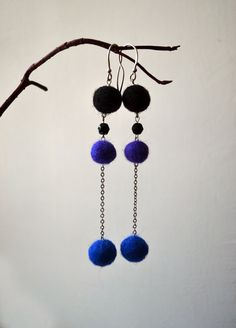 Colorful Felted Earrings - Eco Friendly Earrings - Office Fashion - Purple Blue black Earrings