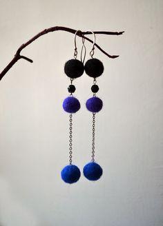Colorful Felted Earrings - Eco Friendly Earrings - Office Fashion - Purple Blue black Earrings