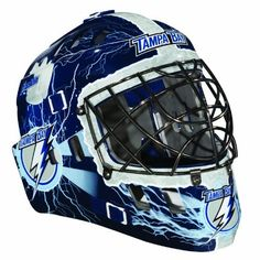 NHL Tampa Bay Lightning SX Comp GFM 100 Goalie Face Mask by Franklin. $39.99. Show your team spirit with the Franklin Tampa Bay Lightning NHL Team Goalie Mask Emblazoned with officially licensed team logos and colors and featuring High impact ABS Plastic with antimicrobial technology. Anatomically designed for safety and comfort with adjustable quick-snap straps to ensure proper fit. Sized for kids ages 5-9 and only for street hockey use. Not intended for ice hockey...