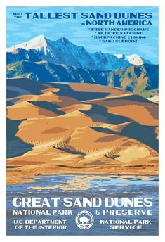 Home to North America's tallest sand dunes, Great Sand Dunes National Park is one of Colorado's best kept secrets. Add this WPA-style poster to your cart today. Rocky Mountain National Park, Yosemite National Park, Pin Ups Vintage, Vintage Style, Wpa Posters, Retro Posters, Gig Poster, Movie Posters, Us National Parks