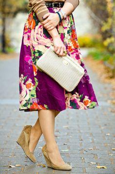 with floral  http://anakral.blogspot.com.au/2012/03/colour-blocking-purple.html