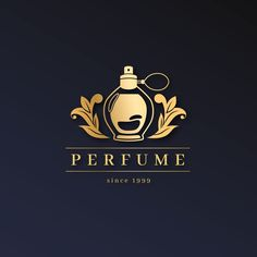 Luxury perfume logo with golden design Logo Floral, Flower Logo, Logo Design Template, Logo Templates, Logo Free, Estilo Floral, Perfume Logo, Lab Logo, Florist Logo