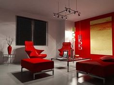 Just enjoy this minimalist red and orange living room that comes with a fresh and dynamic style