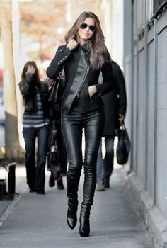 All black. Perfect leather jacket and leggings.