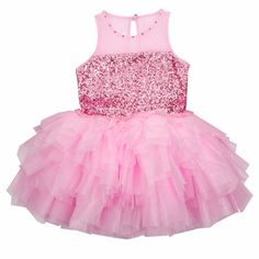 Bunnies Picnic - Ooh La La Couture Tulle Necklace Sequin Dress in Pink Lady - Boutique Clothing for Girls and Boys