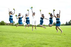 Bridal Party Jumping - Golf Course Wedding Inspiration