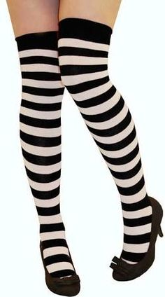 b0d75d0bf878e New Womens Over Knee Long Horizontal Stripe Print Ladies Thigh High Striped  Patterned Overknee Socks Black