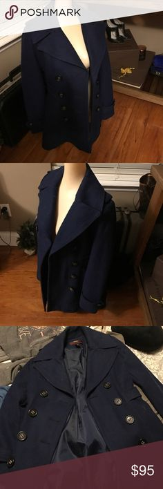 Miss sixth xs small wool peak coat navy blue See pics or feel free to ask questions Miss Sixty Jackets & Coats Pea Coats