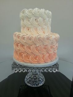 Ombre coral 2 tier wedding cake