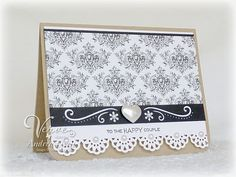 """Another simple layout, using elegant papers and a touch of pearl bling. """"Happy Couple"""" card by Andrea Ewen"""
