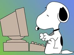 Snoopy at computer