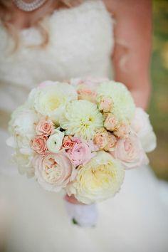 Dahlia, Garden rose, spray rose and ranunculus bouquet by Brocade Designs. Photo by Kristyn Hogan
