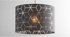 Grey Patterned Ceiling Lamp Shade, Hem | MADE.com Chic Shadow, Denim Drift, Big Boy Bedrooms, Ceiling Lamp Shades, Light Shades, White Patterns, Lampshades, Light Up, Table Lamp