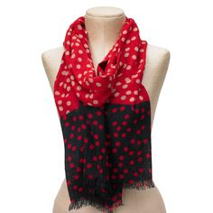 Colorblock Scarf Red Black