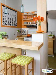 Naranja y verde, colores vivos para la cocina.