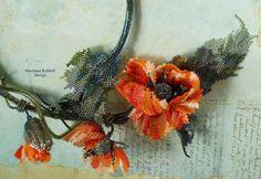 Orange Poppy, Beading Needles, Beaded Brooch, Diy Kits, Diy Tutorial, Creative, Poppies, Christmas Wreaths, Stitch