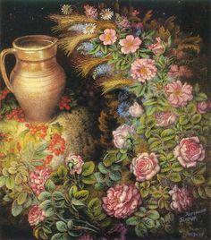 Kateryna Bilokur Still life with spikes and jug (1958-1959)
