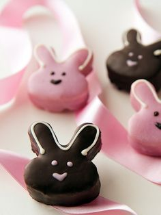Bunny Petit Fours - When it comes to petit fours, many bakeries settle for a single chunk of cake smothered in sugary fondant. Dragonfly Cakes handcrafts each one like a mini layer cake with moist white cake, buttercream, jam and marzipan. These adorable bite-sized bunnies are perfect for any Easter brunch.